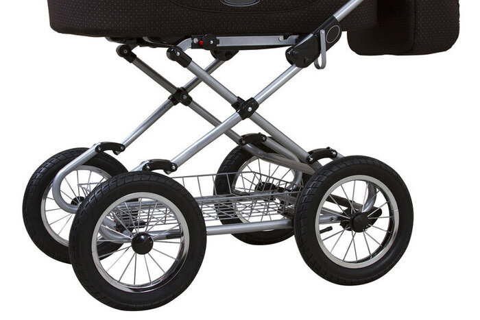 Baby carriage. Baby carriage wheels. White isolated background. Concept for advertising and design.