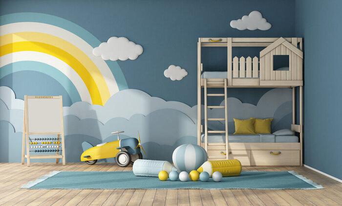 Interiér detskej izby s poschodovou posteľou, dekoráciami predmetov na modrej stene a hračkami