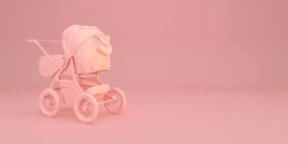 Minimal baby stroller illustration on pink background 3d render