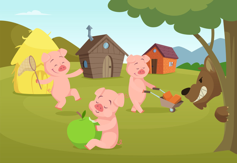 Three little pigs near their small houses and scary wolf. Three pigs and house, fairytale story. Vector illustration