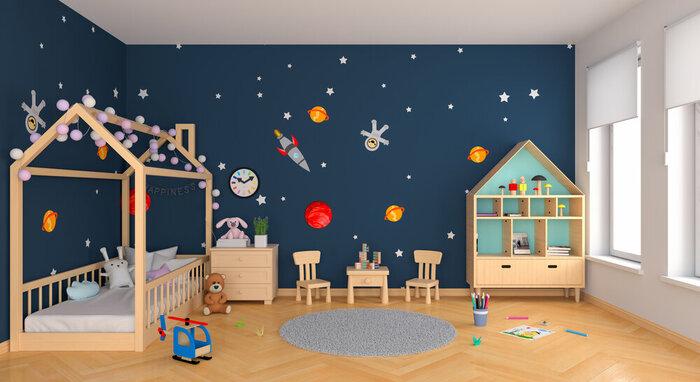 Detská montessori postel v izbe s vesmírnou tapetou