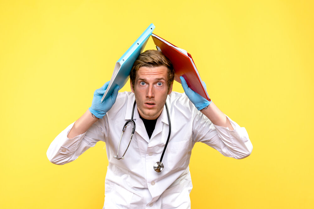 front view male doctor holding analyzes on yellow background medic health virus human