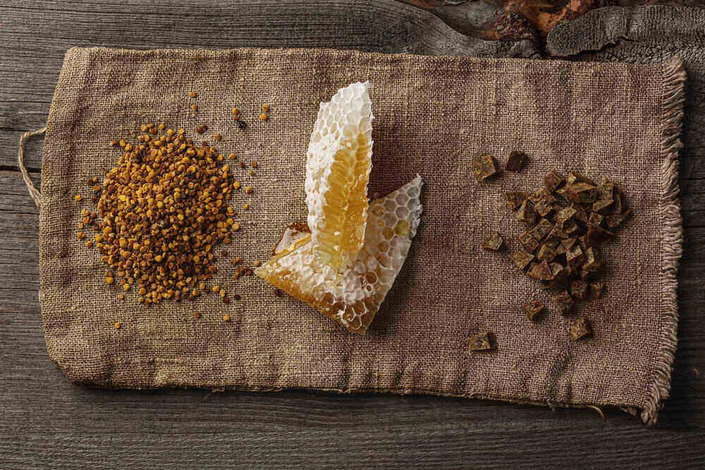 Včelárske výrobky. Propolis, peľ, plást.